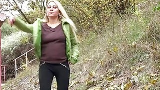 Blonde on a walk takes_a piss in public image