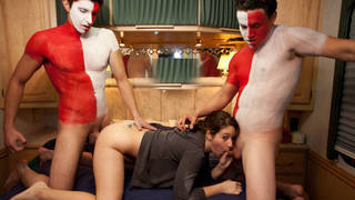 College girl gets her first double penetration on tape image