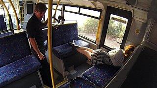 Sleepy babe woken and fucked hard in the bus image