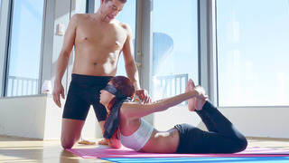 Yoga instructor Xander blindfolds his young student Jade Jantzen to enhance her experience image