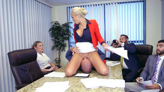 Office boss Nina Elle sits on_Sean's face to shut him up image
