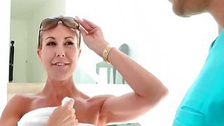 Natalia and MILF Brandi Love show a lucky boy some fun image