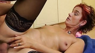 Sexy Mature In_Laced Stockings Kitchen Anal Fuck image