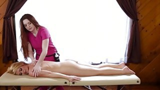 Image: Blonde Abby Cross wants a massage and Veronica preps her with a rub