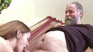Image: Crazy old stud bonks mouth pussy of a young girl