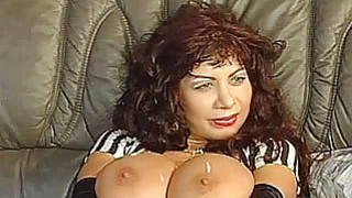 Busty amateur mom foursome with cum on tits image