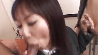 Lovely Asian Ryo enjoys giving_double blowjob image