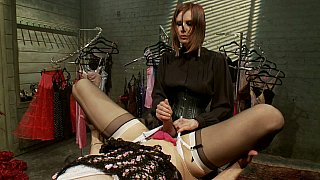 Image: Sex humiliation with slutty bitch playing with cock