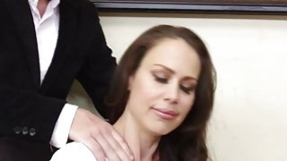 Seductive big titted MILF McKenzie Lee hot office fuck image
