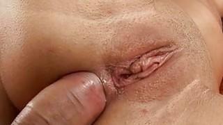 Brunette cutie in hardcore anal sex video image