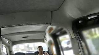 Ebony babe fucked and facialed by fake driver in public image