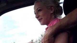 Hot stranded Brooke Lee fucks a nice stranger in the car image