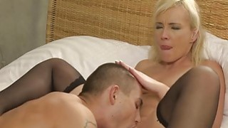 Young muscled guy fuck old blonde lady image