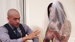 Image: Busty emo in wedding dress deeply banged