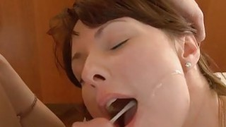 Cute college babe gets fucked on the massage table image