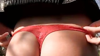 Sexy Eurobabe flashes booty and pounded for some money image