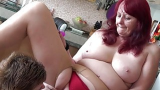 OLDNANNY Teen lesbian stick toy to old granny cunt image