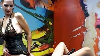Euro slut licks other chick's pussy while getting fucked from behind image