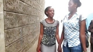 Serwa and Therma are two hot African lesbians who love having sex in bathroom image