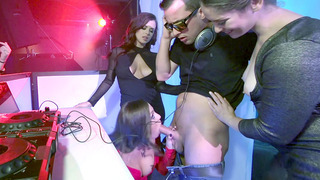 Abigail Mac and Keisha Grey deepthroat their favorite DJ's cock image