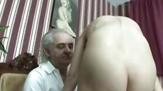 Sexy Blonde Teen Riding Cock Of This Handicapped Oldie image