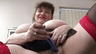 Image: Horny chubby mature lady masturbating