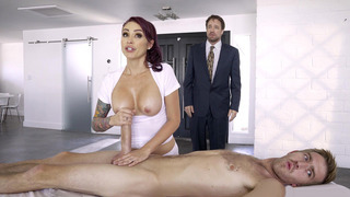 Monique Alexander strokes Danny's sausage and her husband is none the wiser image