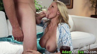 Busty cougar fucking a younger dude image