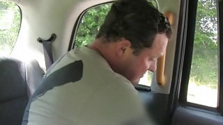 Blonde cab driver with huge fake tits fuck in public image