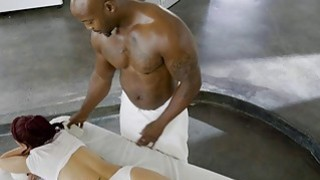 Massage chick gets anal_tag teamed by two black guys image