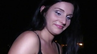 Good looking busty babe fucks in public at night image