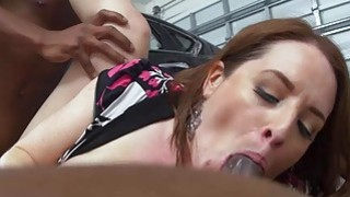 Horny cougar Maggie pounded by mechanics on duty image
