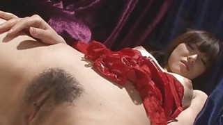 Oriental take on 2 large dildo in hairy cunt image