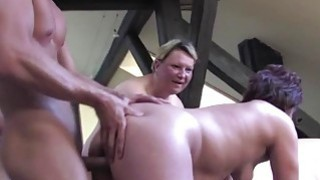 Three chubby matures fuck a young dude image