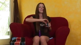 Tiny brunette uses vibrator for orgasm image