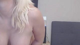 Big Ass Busty Blonde Slut Fucks And Sucks Dildo image