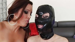 Hot lesbians Francesca Le and Aidra Fox play with strap on image