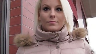 Blonde Czech babe banged in public from behind image
