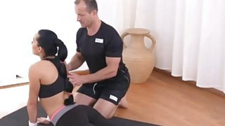 Image: Tasty brunette babe fucks with her personal trainer at the gym