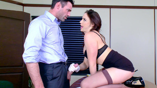 Chanel Preston demonstrates her oral skills on his big cock image