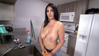 Cristal Caraballo gets a_few extra bucks to_clean the house topless image