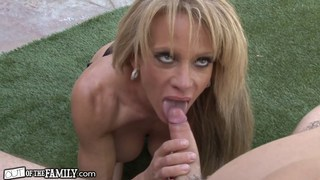 Pervy step mom ravishes her sons erect cock image