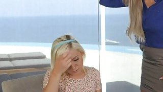 Blonde Cleo having a lesbian_sex with her bfs_stepmom Nina image
