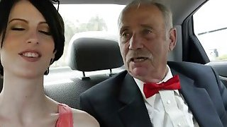 Image: Foxy brunette needs money for prom anal fucked by aged dicks