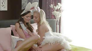 Lesbian bunnies eating and_fingering image