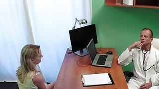 Doctor eats and bangs blonde patient image