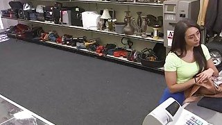 Desperate teen Lilly Hall sucks and rides cock in the floor inside the pawnshop image