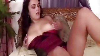 Slutty brunette Manuella_rims boyfriend's asshole and_before shoving big strapon in there image