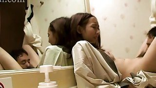 Japanese slut wife affair in the bathroom image