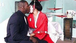 Petite Asian geisha takes on a huge_black anaconda image